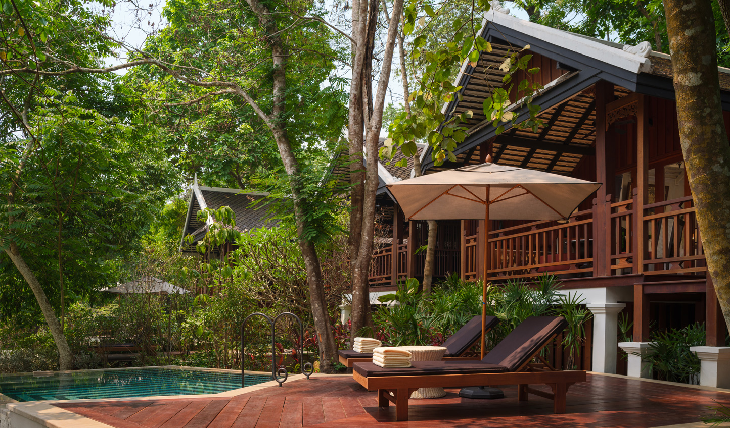 Relax by your private pool in the Waterfall Pool Villa