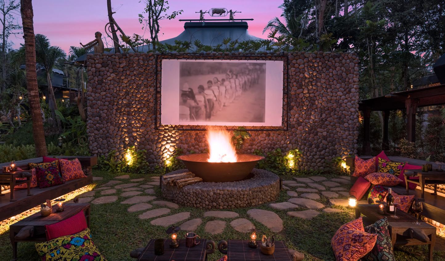 Cosy up by the campfire and enjoy a black and white movie or a tale from the in-house storyteller