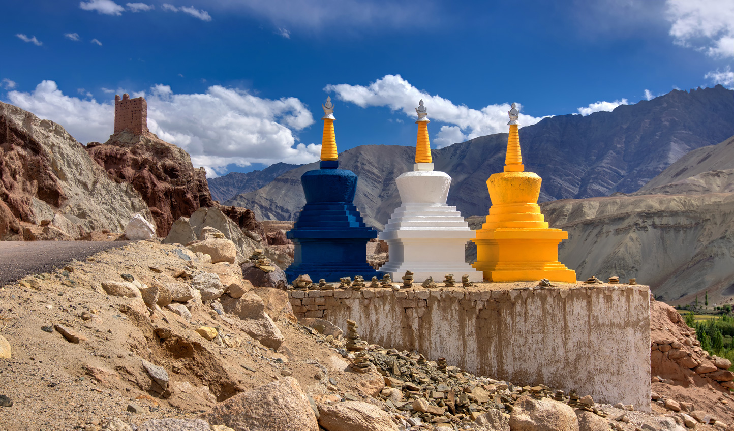 Stupas freckle the landscape
