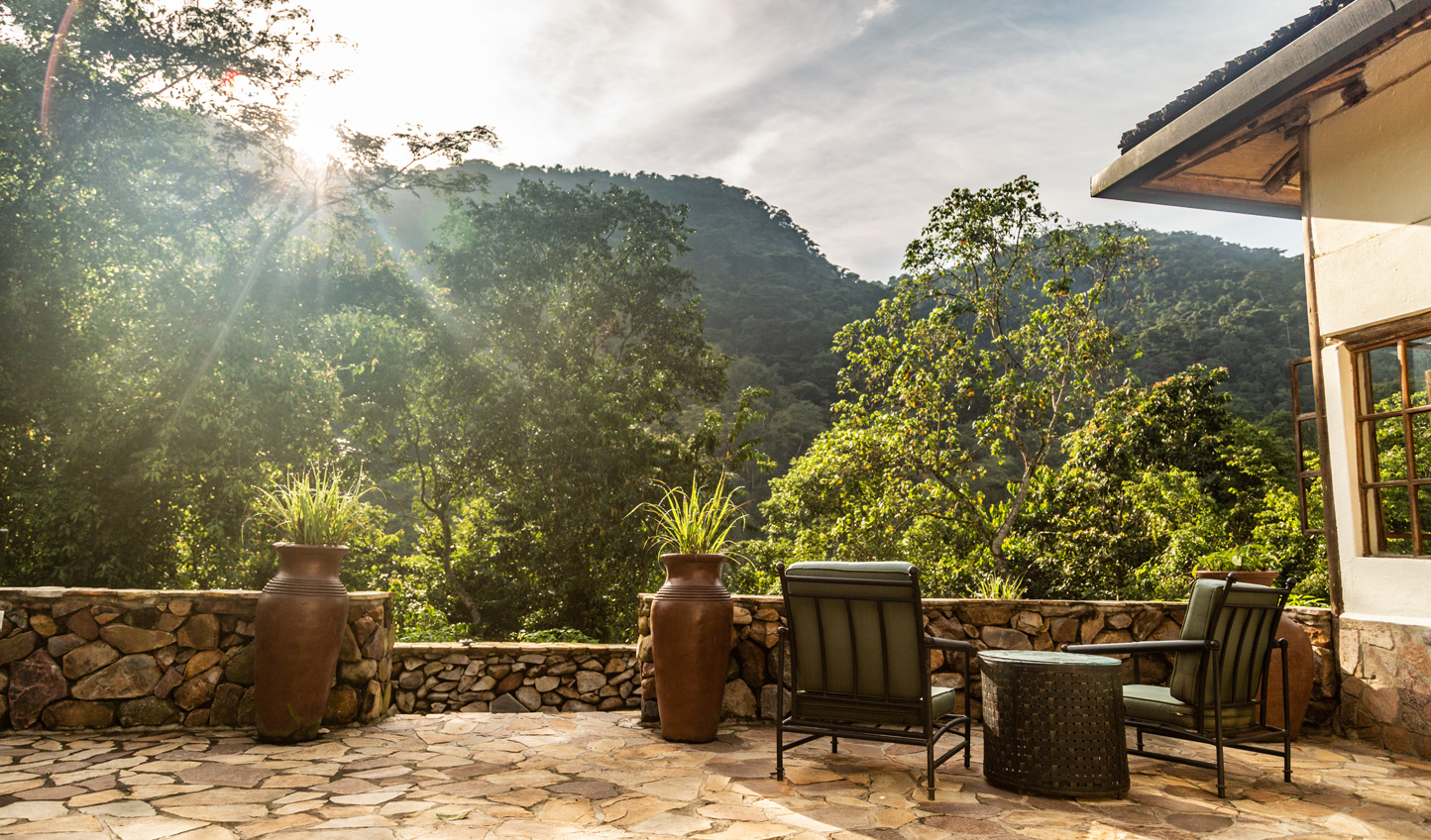 Enjoy the sun out on the terrace at Bwindi Lodge