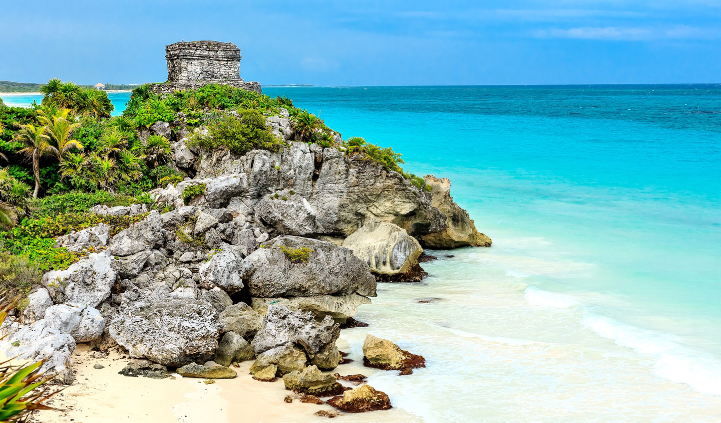Discover the Tulum coastline, littered with Mayan ruins