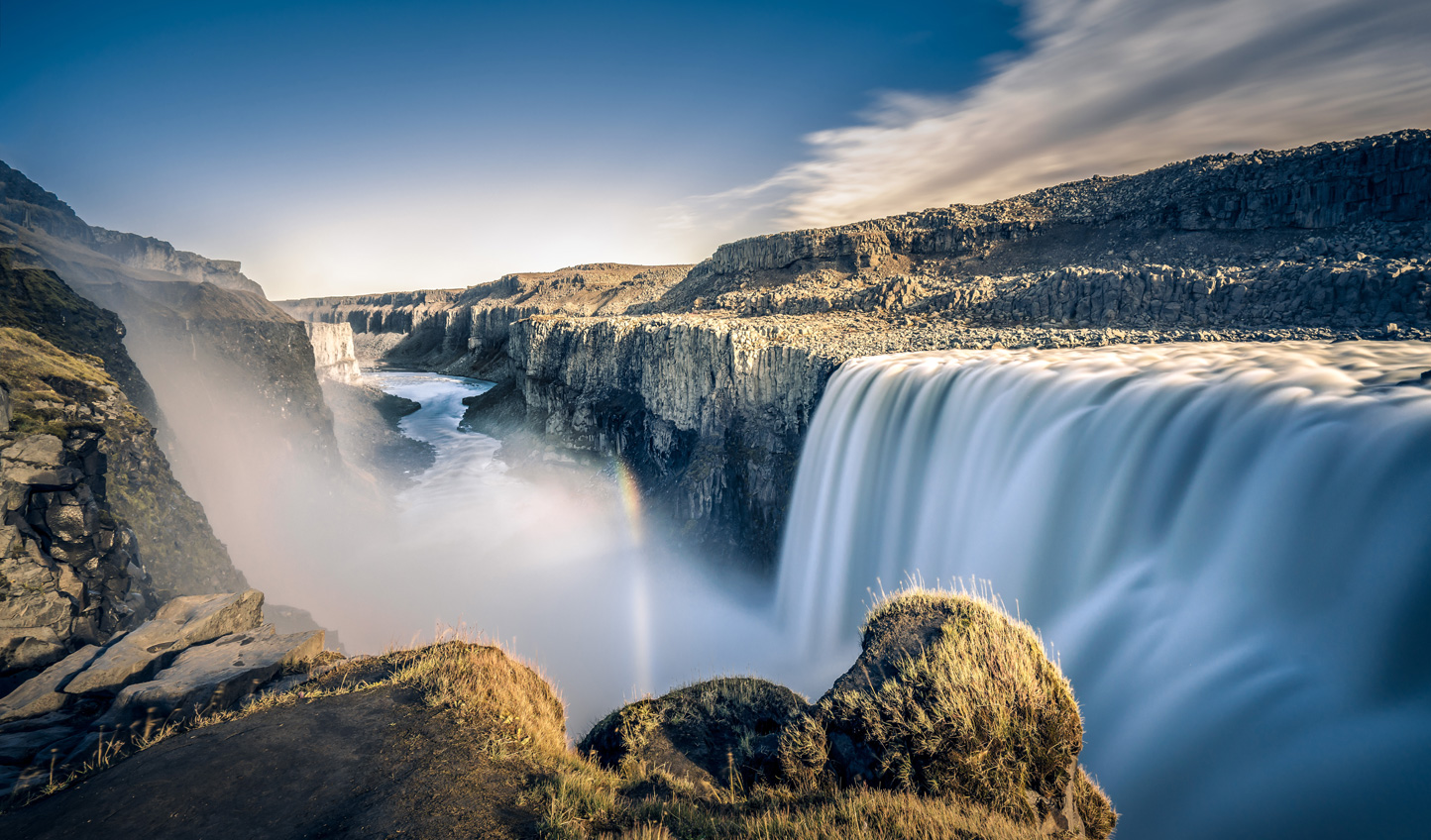 Take to the skies and see Europe's largest waterfall, Dettifoss, from the skies