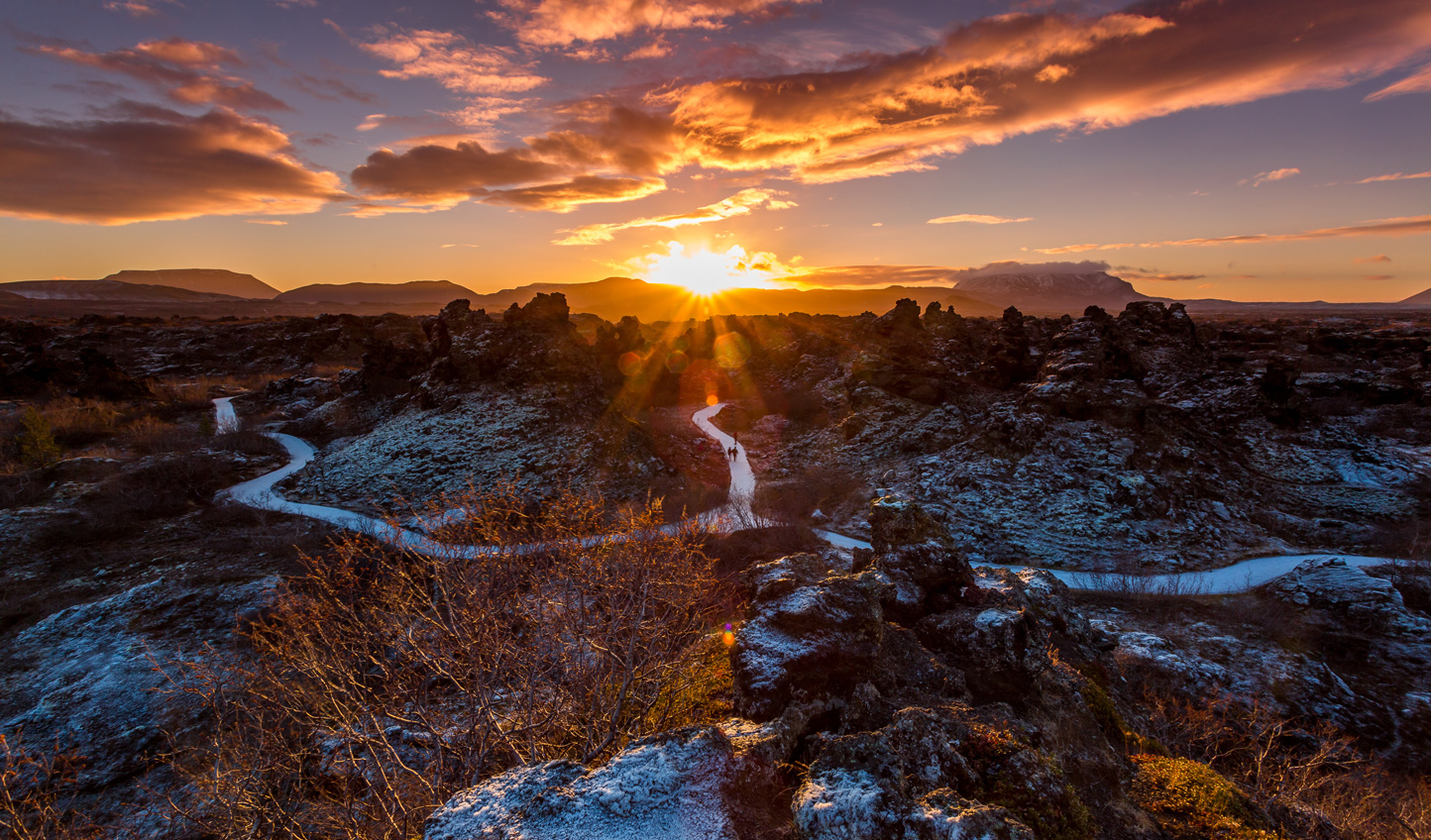 Strolling across the Dimmuborgir lava fields, you'll feel as if you're on a whole other planet