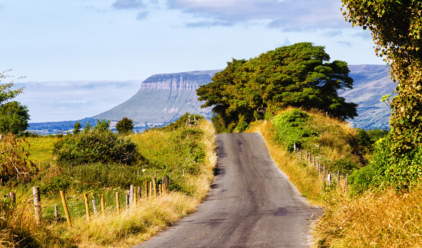 Head south from Donegal, passing in the shadow of Ben Bulben Mountain