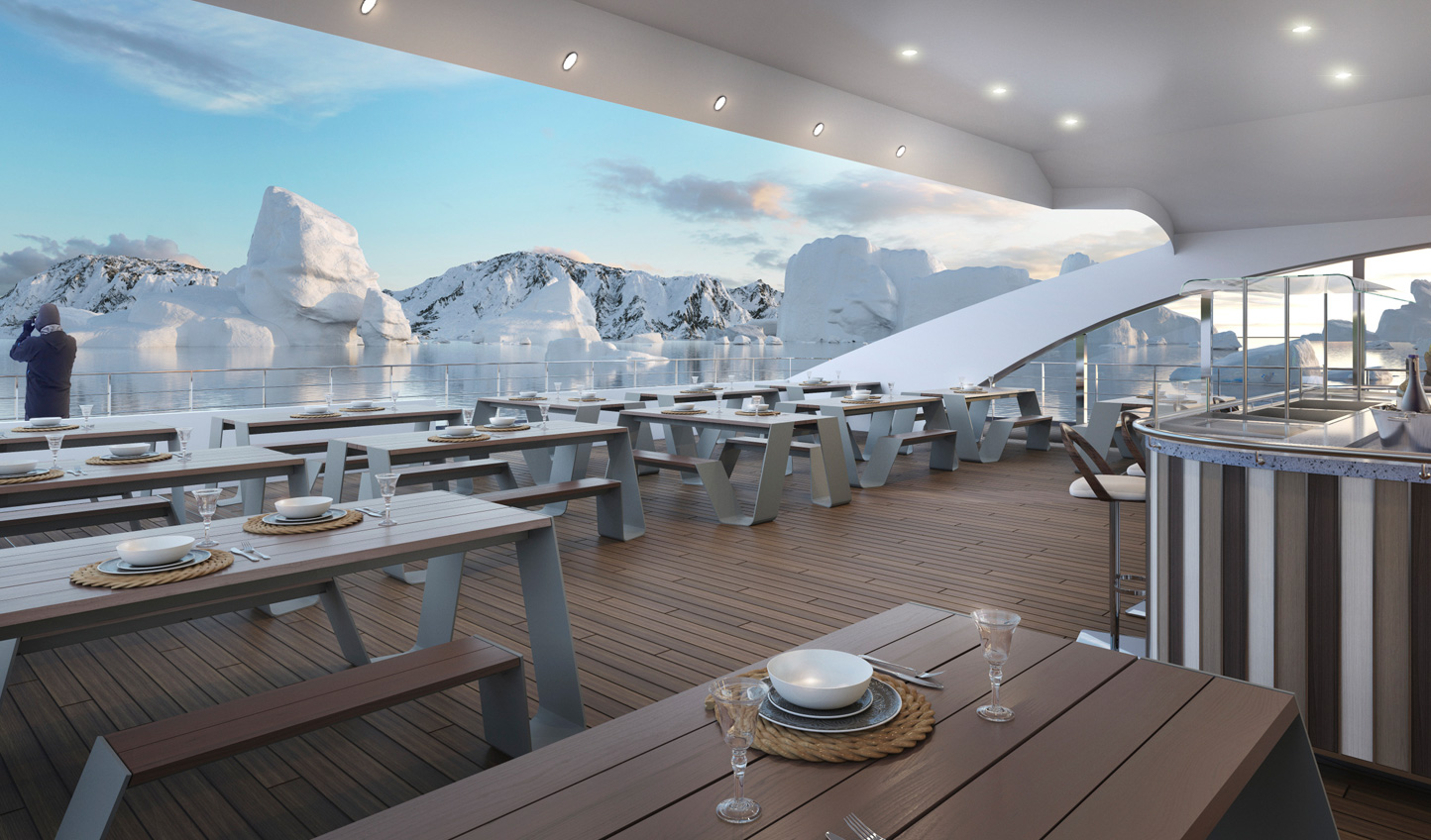 Enjoy a BBQ out on deck whilst icebergs float on by