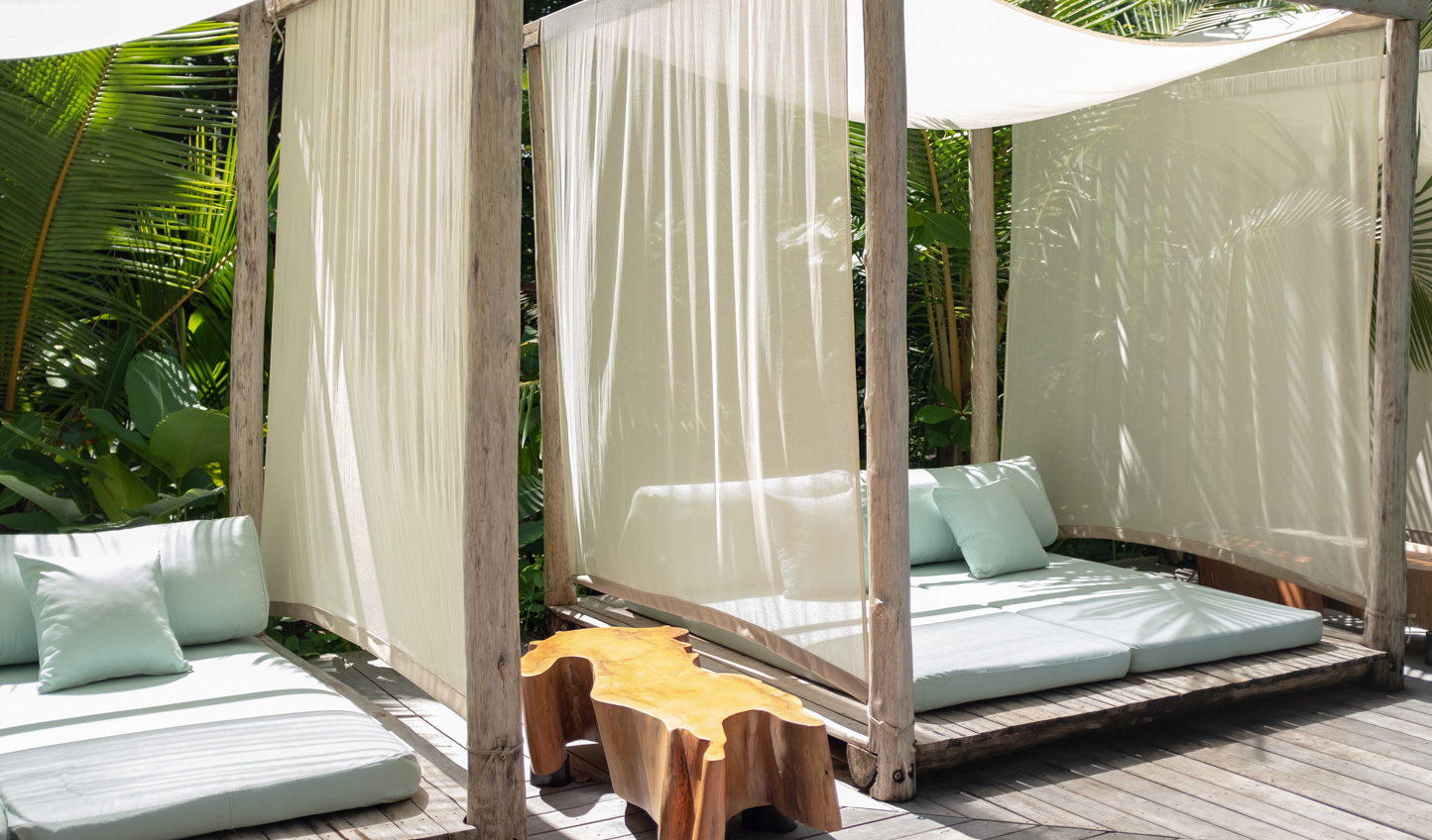 Switch off from the world in the luxury cabanas and day beds