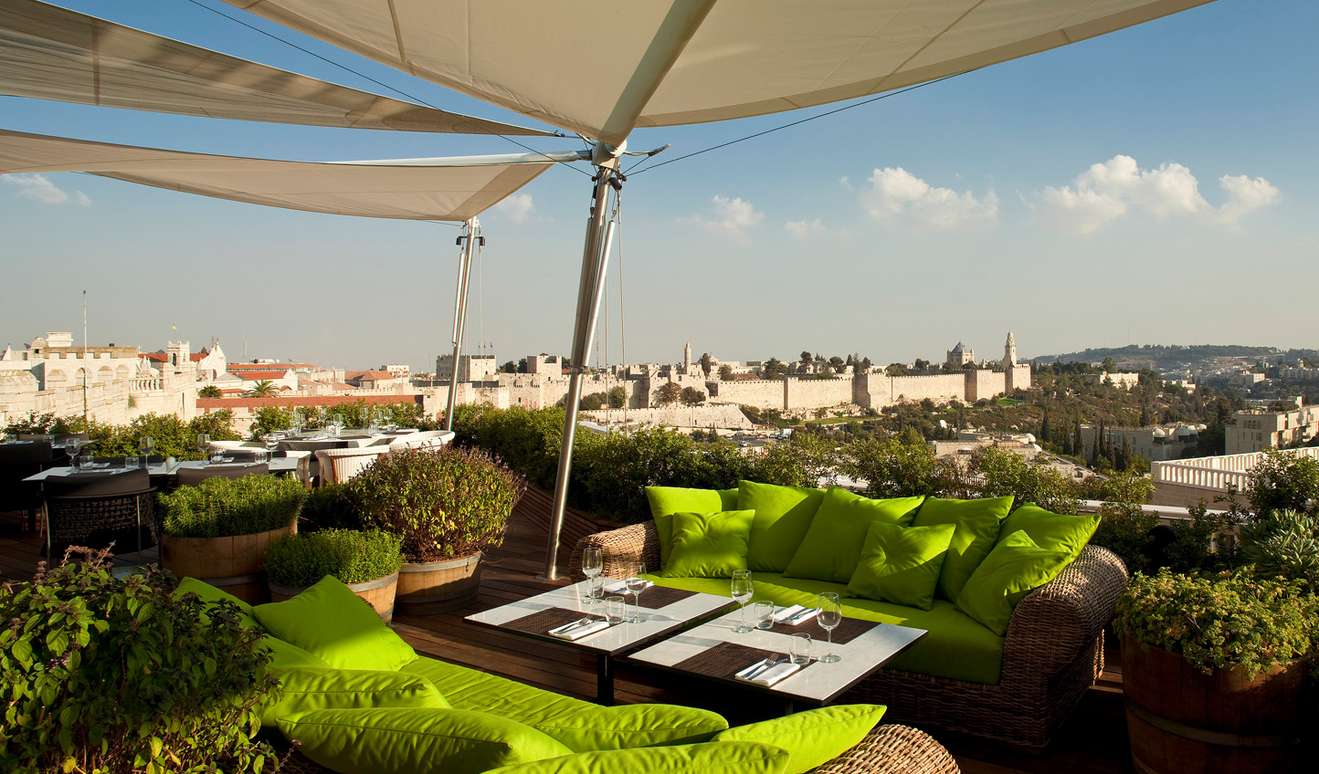 Gaze over Jerusalem at Mamilla's acclaimed rooftop lounge