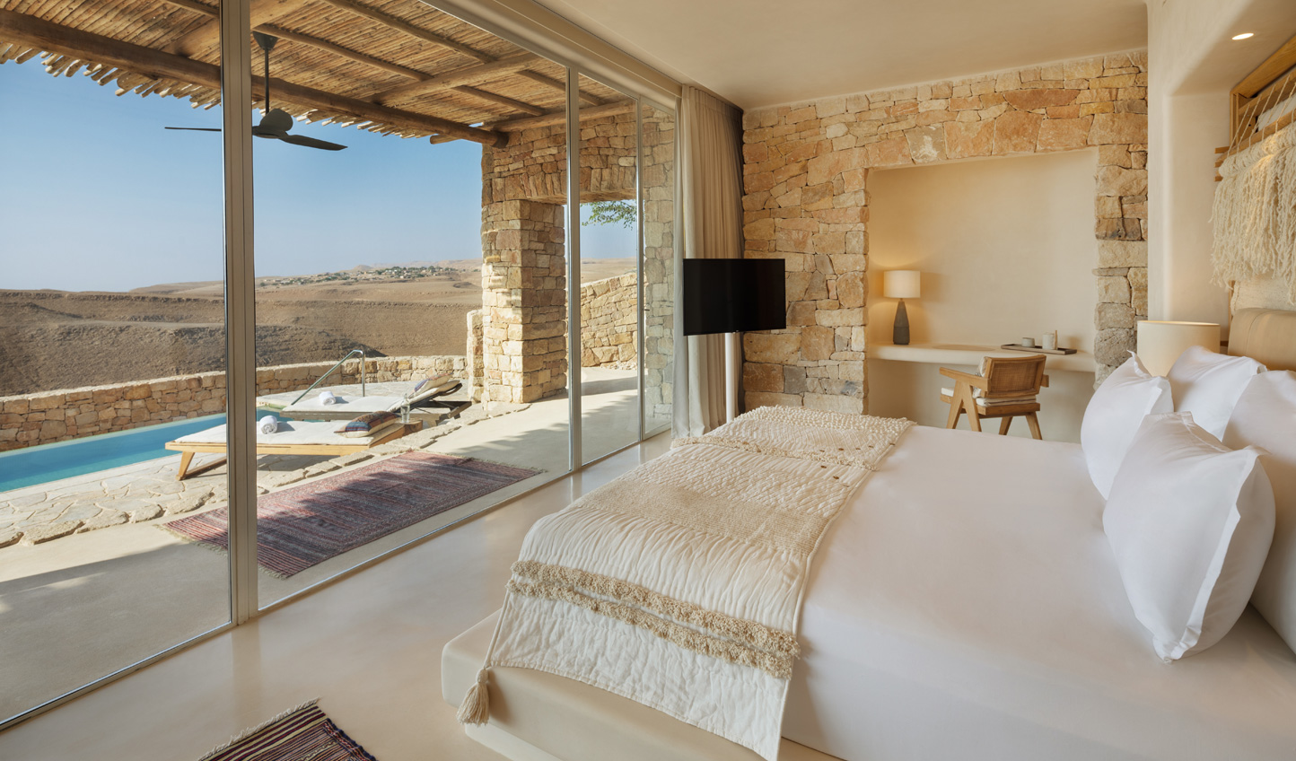 Gaze out over the desert from your luxurious room at Six Senses Shaharut