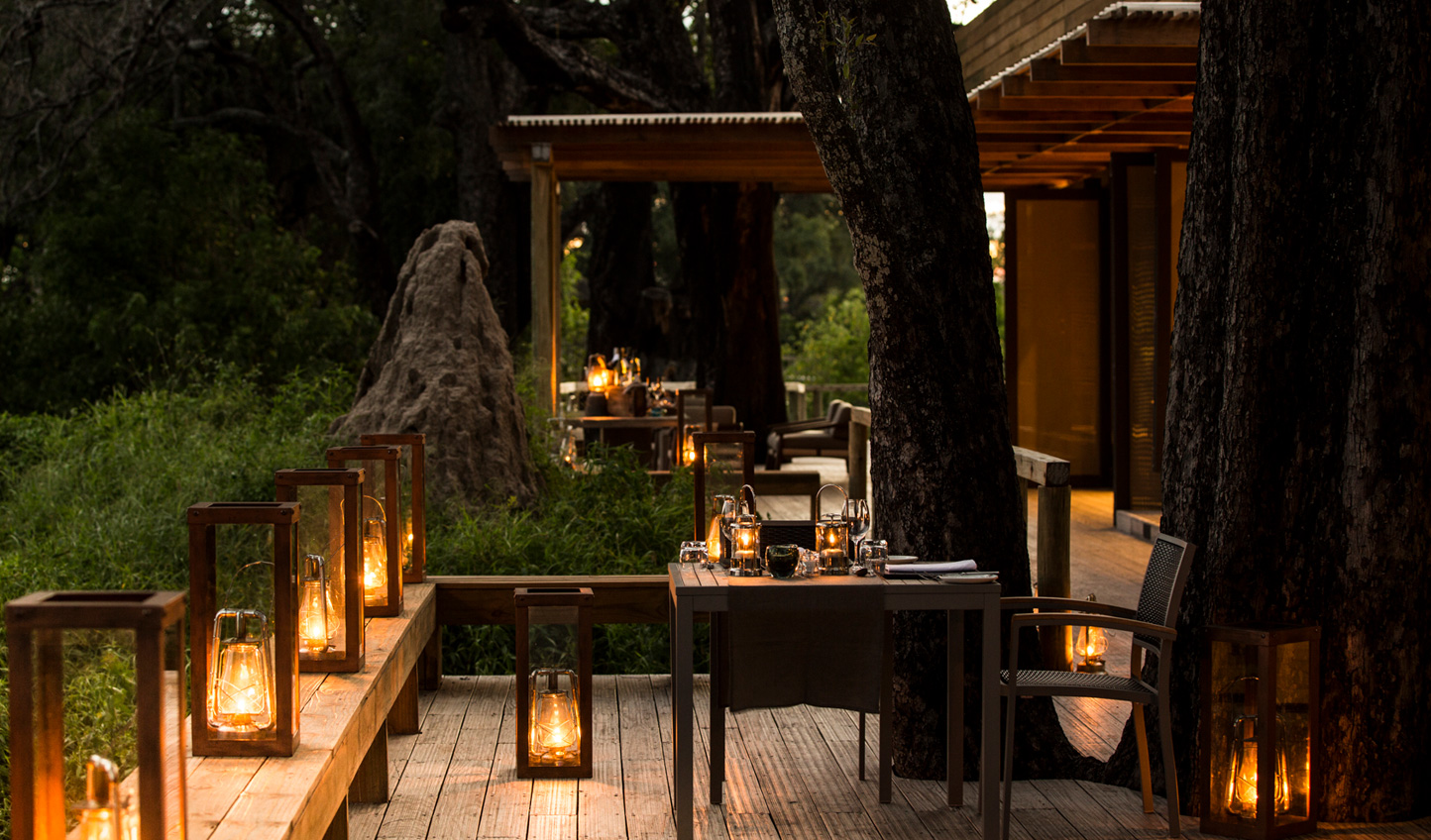 Dine on the picturesque veranda, looking out onto wild plains