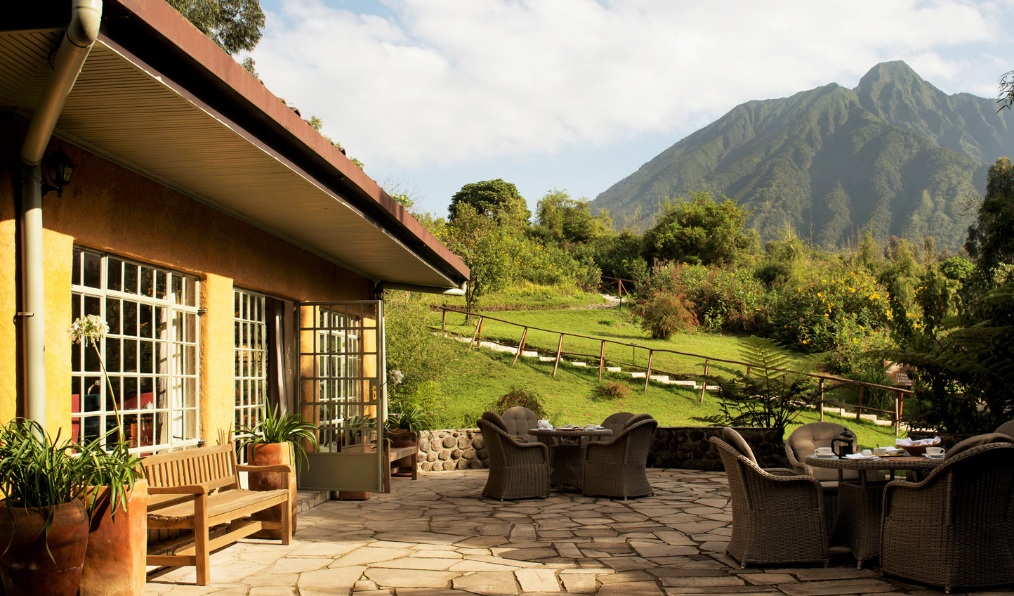 A humble lodge and idyllic base for gorilla trekking