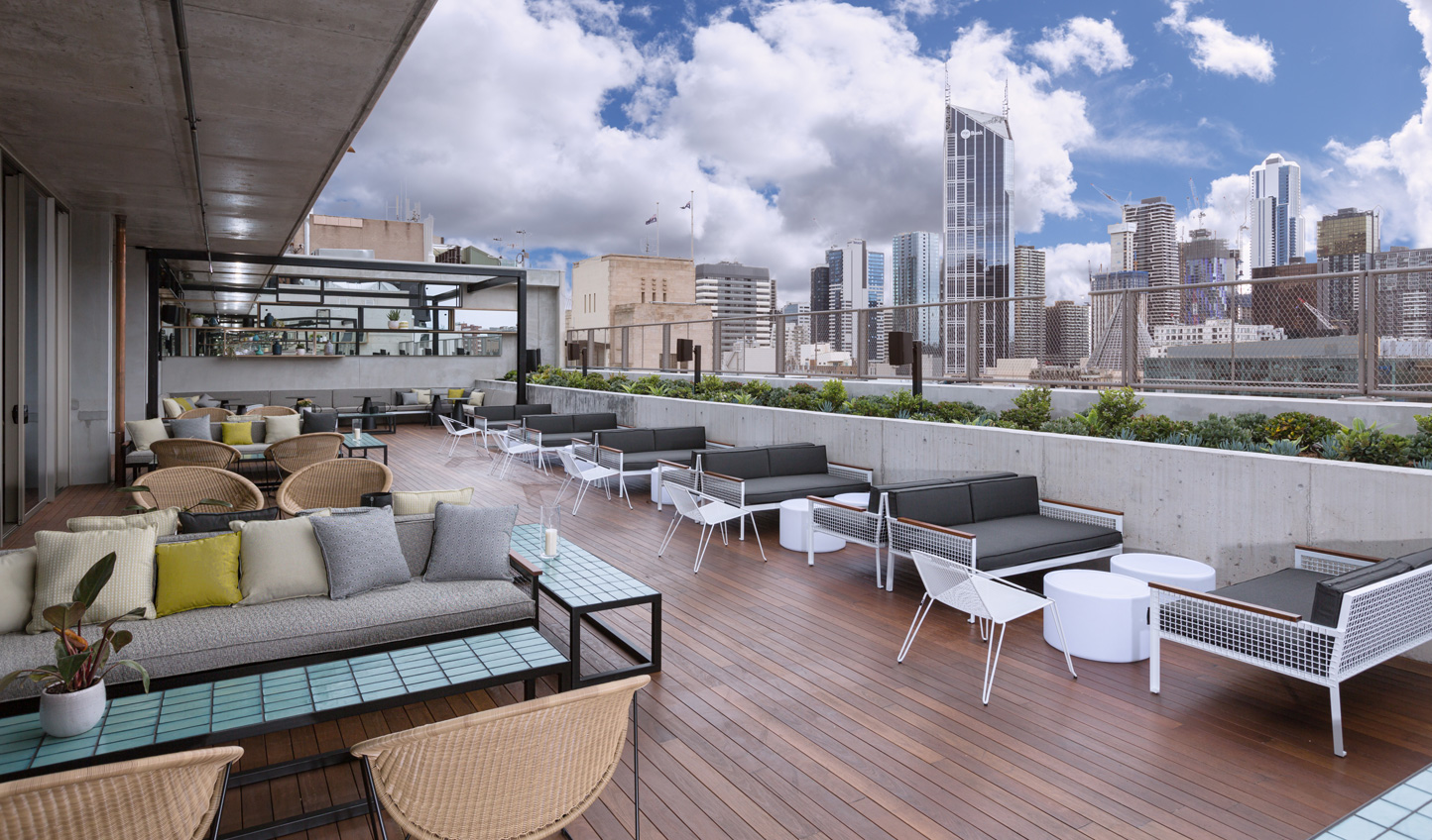 Soak in the Melbourne skyline from the rooftop bar