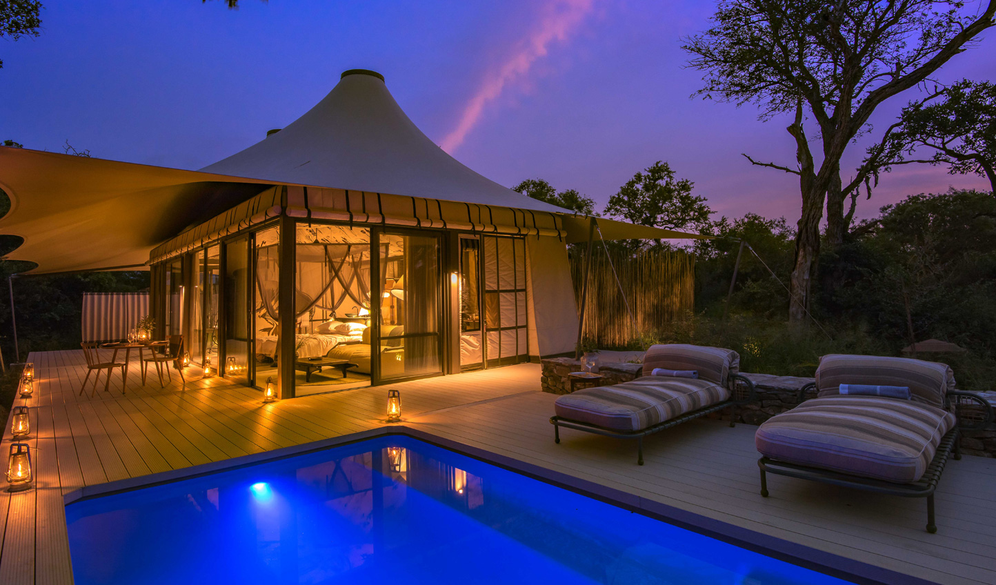 Each tented suite features private terraces and plunge pool