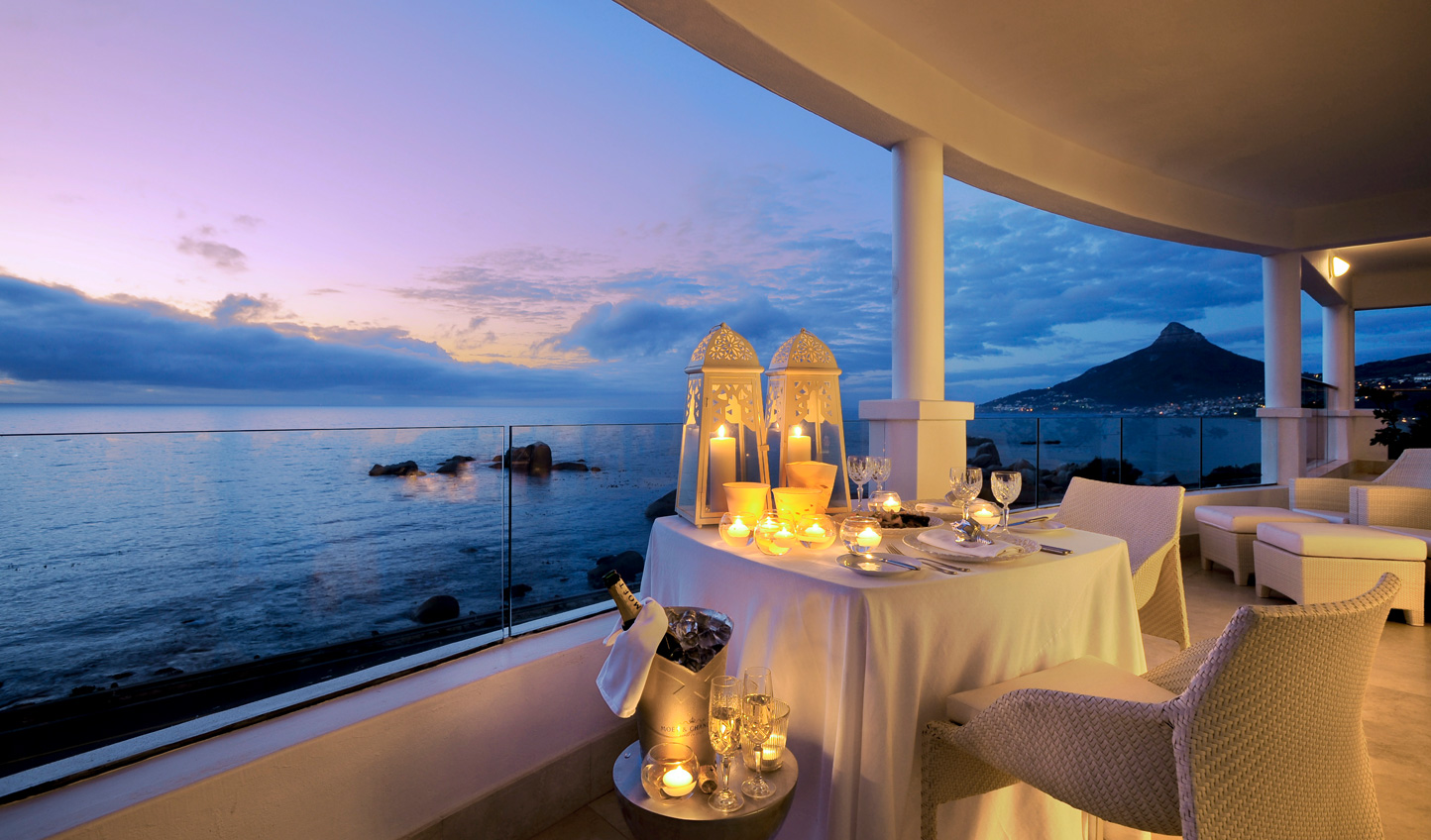 Private dining on the balcony of the Presidential Suite